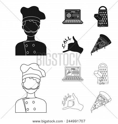 Cook, Order By Phone, Grated Cheese, Ordering A Face Gesture.pizza And Pizzeria Set Collection Icons