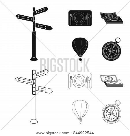 Vacation, Travel, Pointer, Way, Navigation .rest And Travel Set Collection Icons In Black, Outline S