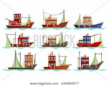 Set Of Isolated Fishing Boats With Net. Vessel At River Or Sea, Ocean Searching For Catch Or Trawler