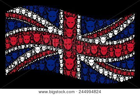 Waving British Flag On A Black Background. Vector Daemon Head Items Are Grouped Into Conceptual Unit