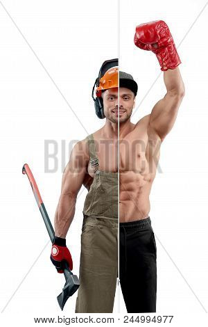 Photo Comparison Of Boxer And Woodcutter Professions. Boxer Wearing Boxer Gloves And Sport Trousers.