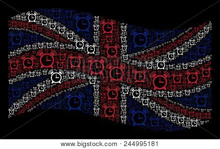 Waving Uk Official Flag On A Black Background. Vector Buzzer Pictograms Are Formed Into Geometric Br