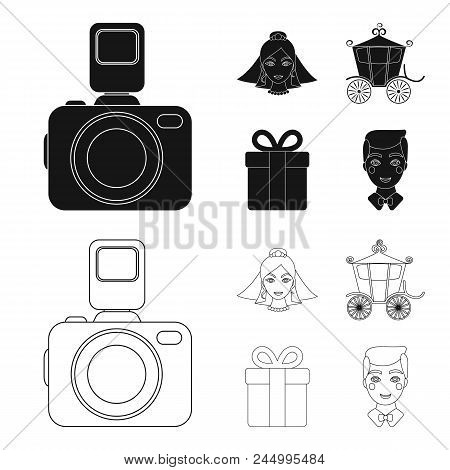 Bride, Photographing, Gift, Wedding Car. Wedding Set Collection Icons In Black, Outline Style Vector