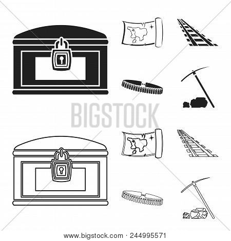 Treasure Map, Chest, Rails, Patrol.wild West Set Collection Icons In Black, Outline Style Vector Sym