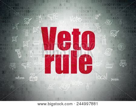 Political Concept: Painted Red Text Veto Rule On Digital Data Paper Background With  Hand Drawn Poli