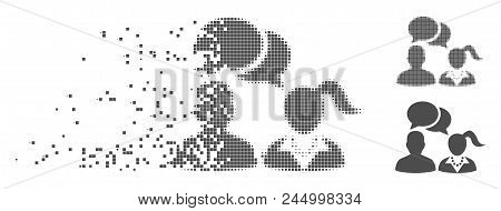 Gray Vector Dating Chat Icon In Dispersed, Pixelated Halftone And Undamaged Solid Versions. Disappea