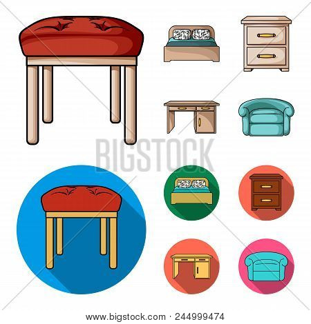 Interior, Design, Bed, Bedroom .furniture And Home Interiorset Collection Icons In Cartoon, Flat Sty
