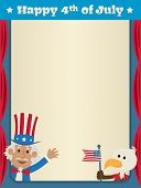 Festive fourth of July blank sign with uncle Sam and patriotic eagle. Eps10 poster
