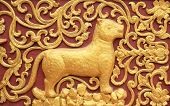 picture animal stucco , stick on temple wall in Thai poster