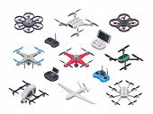 Unmanned aircraft, delivery drone with propellers, camera and computer controller. Gray red blue green military electronics drones and vehicle controllers 3d realistic isolated vector isometric set poster