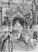 The Bride Entering the Chapel with her Father, the Duke of Coburg. Engraving by anonymous engraver and published in the Graphic newspaper, United Kingdom, 1894. poster