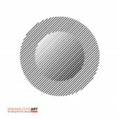 Minimalistic art modern geometric design. Simple black and white shape in modernism, bauhaus style. Abstract halftone concentric circle shape isolated on white background, vector illustration. poster