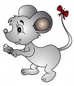 illustration mouse with bow on tail on white poster