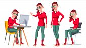 Office Worker Vector. Woman. Happy Clerk, Servant, Employee. Poses. Emo, Freak Business Woman Person Lady Emotions Gestures Flat Character Illustration poster