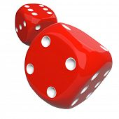 Red Casino Dice Thrown to the Camera Isolated on White Background. Gambling Design Element. 3D Illustration. poster