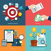 Icon set for business strategy, pay bills, tax pay, strategic management. Flat vector illustration poster