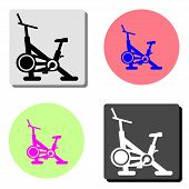 stationary bike. simple flat vector icon illustration on four different color backgrounds poster