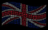 Waving UK official flag on a black background. Vector buzzer pictograms are formed into geometric British flag collage. Patriotic collage combined of buzzer design elements. poster
