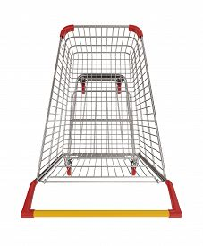 Supermarket Shopping Cart Top View On White 3d Illustration
