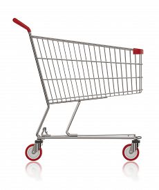 Shopping Cart Side View On White Background 3d Illustration