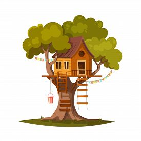 Tree House For Playing And Parties. House On Tree For Kids. Children Playground. Wooden Town, Rope P