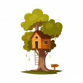 Tree House For Playing And Parties. House On Tree For Kids. Children Playground With Garland. Wooden