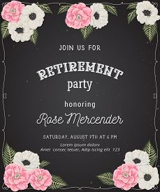 Retirement Party Invitation. Design Template With Pink Camellias, White Anemone Flowers In Watercolo