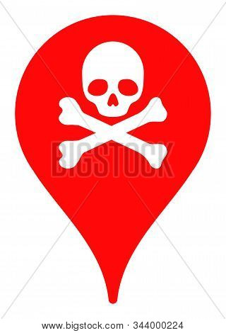Danger Zone Map Marker Vector Icon. Flat Danger Zone Map Marker Symbol Is Isolated On A White Backgr