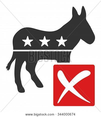 Decline Democratic Vector Icon. Flat Decline Democratic Symbol Is Isolated On A White Background.