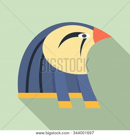 Egypt Falcon Head Icon. Flat Illustration Of Egypt Falcon Head Vector Icon For Web Design