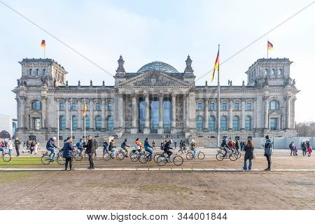 Berlin, Germany - November 23, 2019: Panoramic View Of Reichstag Building In Berlin, Germany. A Grou