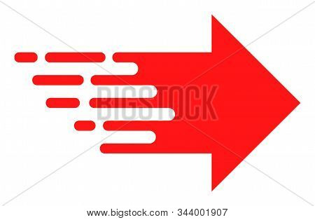 Express Right Movement Vector Icon. Flat Express Right Movement Symbol Is Isolated On A White Backgr