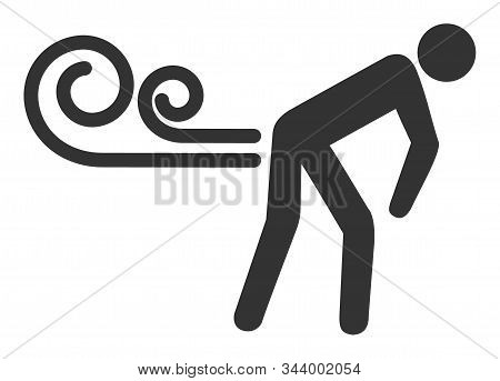 Farting Wind Vector Icon. Flat Farting Wind Pictogram Is Isolated On A White Background.