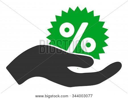 Give Percent Bonus Vector Icon. Flat Give Percent Bonus Symbol Is Isolated On A White Background.