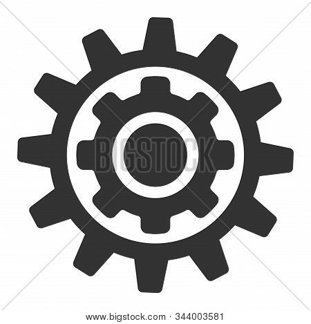 Inner Gear Vector Icon. Flat Inner Gear Pictogram Is Isolated On A White Background.