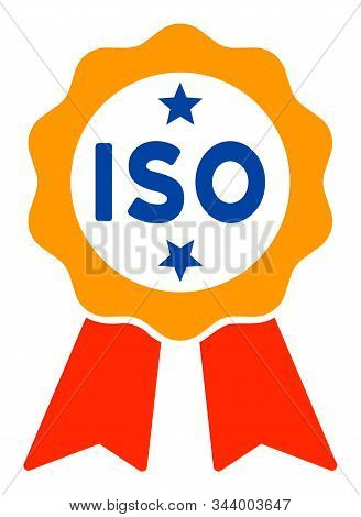 Iso Certified Vector Icon. Flat Iso Certified Pictogram Is Isolated On A White Background.