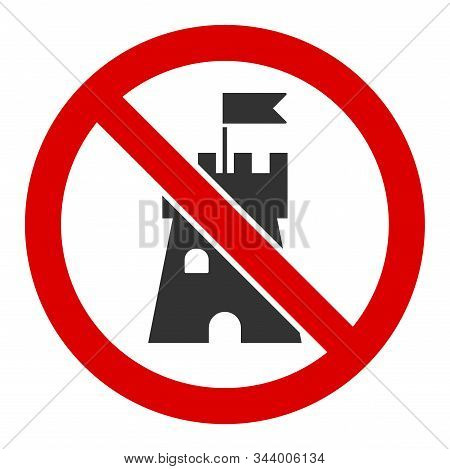 No Bastion Vector Icon. Flat No Bastion Symbol Is Isolated On A White Background.