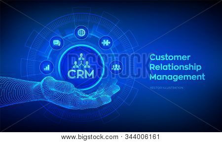 Crm Icon In Robotic Hand. Customer Relationship Management. Customer Service And Relationship. Enter