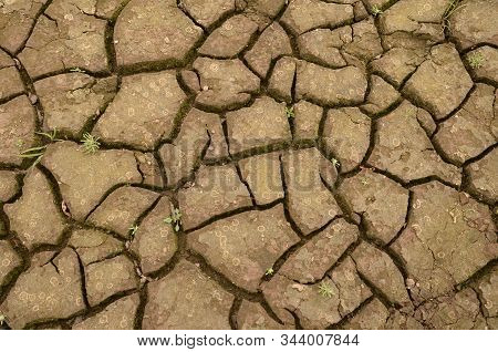 Parched Earth Brown Color With Cracks On The Surface