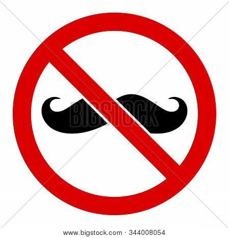 No Curly Mustache Vector Icon. Flat No Curly Mustache Pictogram Is Isolated On A White Background.