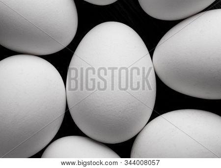 Background Of White Chicken Eggs. Chicken Eggs Top View. White Chicken Eggs Close-up. A Bunch Of Whi