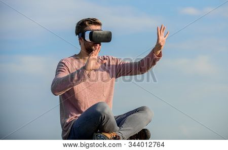 Use Modern Technology. Engineering Project. Cyber Space. Virtual Reality. Man Wear Wireless Vr Glass