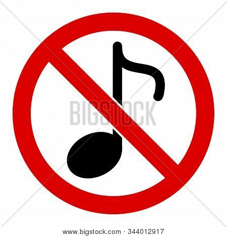 No Music Note Vector Icon. Flat No Music Note Symbol Is Isolated On A White Background.