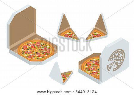 Isometric Pizza Triangle Box Slice. Slice Of Fresh Italian Classic Pizza Isolated On White Backgroun