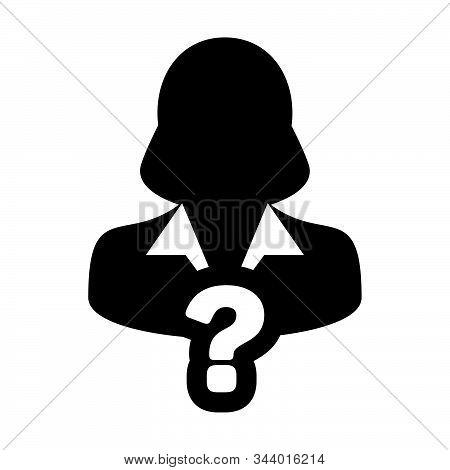 Query Icon Vector Question Mark With Female User Person Profile Avatar Symbol For Help Sign In A Gly