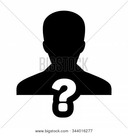Challenge Icon Vector Question Mark With Male User Person Profile Avatar Symbol For Help Sign In A G