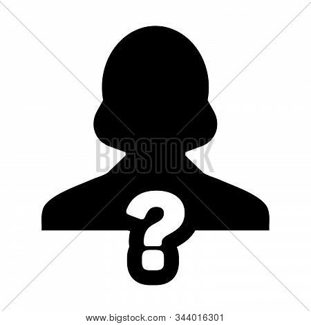 Test Icon Vector Question Mark With Female User Person Profile Avatar Symbol For Help Sign In A Glyp