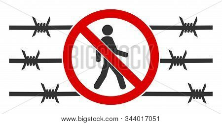 No Trespassing Fence Vector Icon. Flat No Trespassing Fence Symbol Is Isolated On A White Background