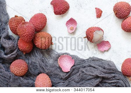 Fresh Litchi Fruits On A White Table
