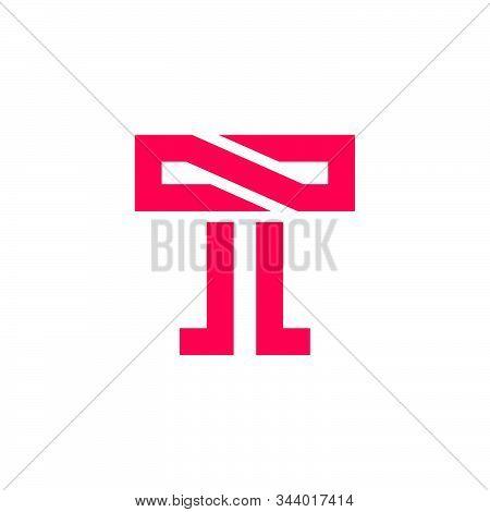 Letter T Simple Geometric Line Logo Vector